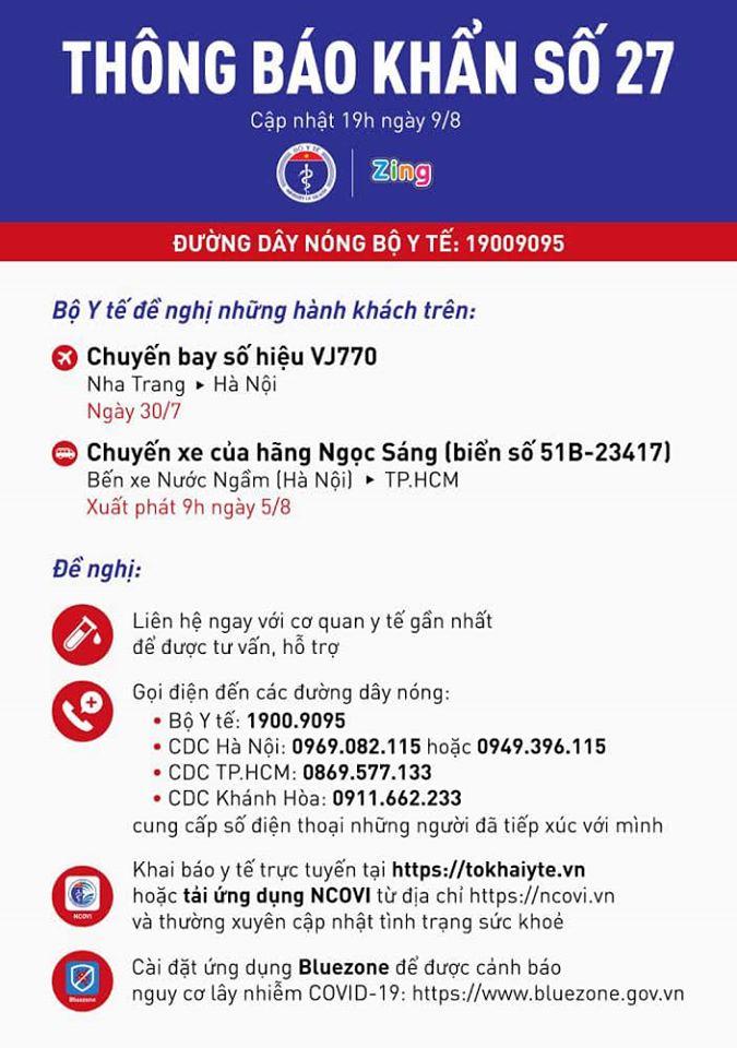 Tìm hành khách đi chuyến bay VJ770 đi Nha Trang - Hà Nội ngày 30-7 -0