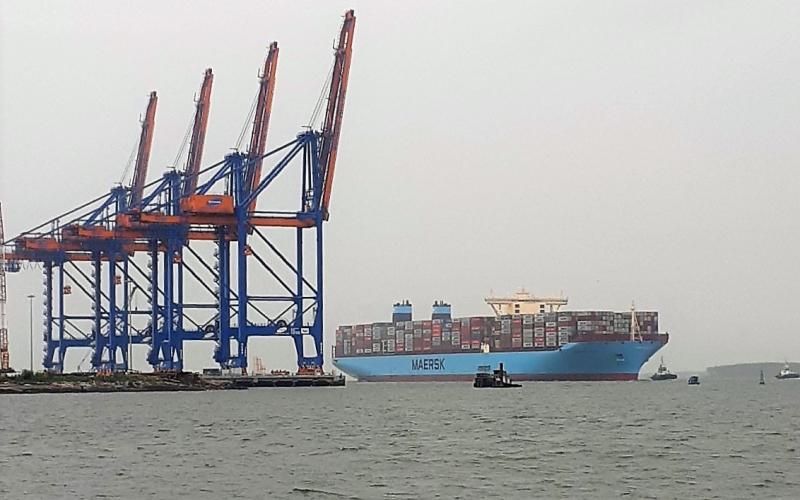 """""""Siêu tàu"""" Margrethe Maersk cập cảng Cái Mép - Thị Vải -0"""