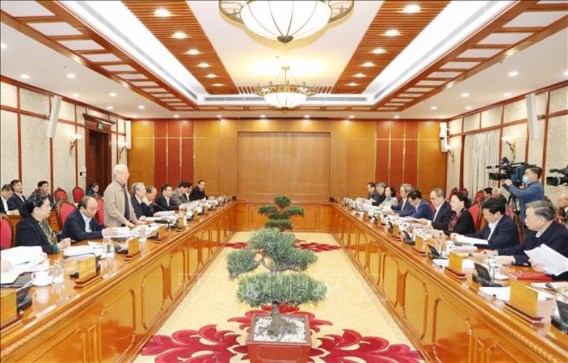 Tổng Bí thư, Chủ tịch nước Nguyễn Phú Trọng chủ trì cuộc họp tiếp thu ý kiến đóng góp vào dự thảo các Văn kiện Đại hội XIII -0