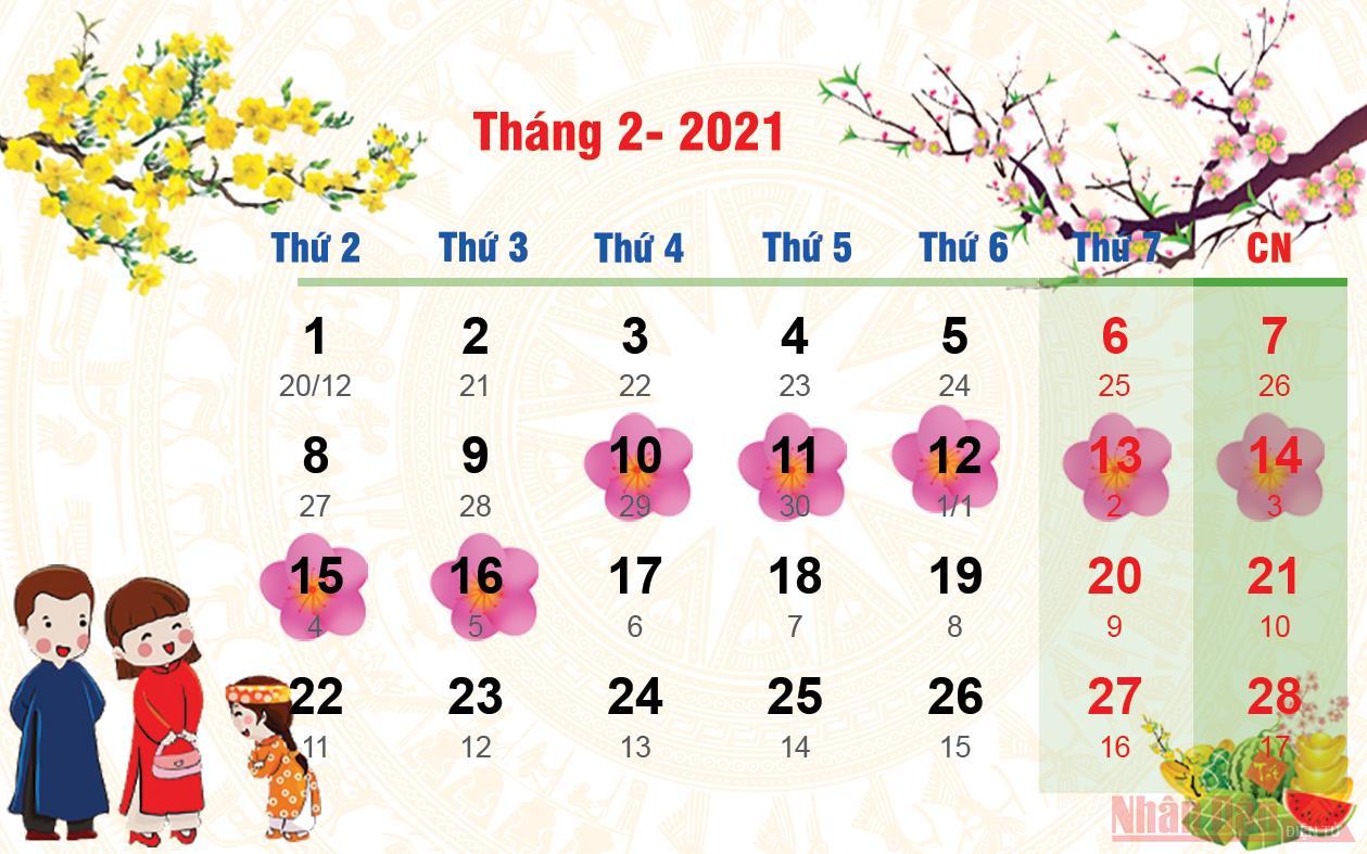 [Infographic] Toàn bộ các ngày nghỉ lễ, Tết của năm 2021 -0