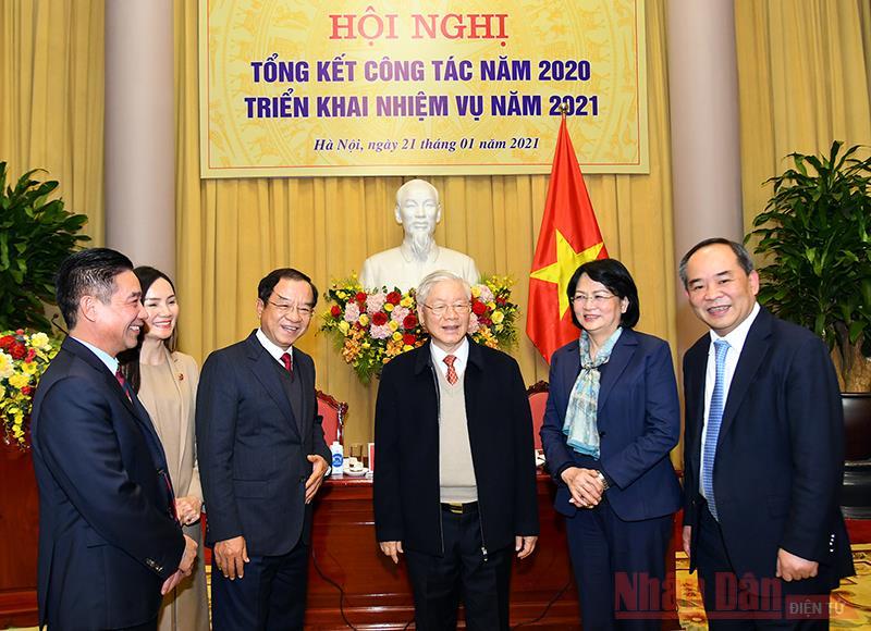 Tổng Bí thư, Chủ tịch nước Nguyễn Phú Trọng dự Hội nghị triển khai nhiệm vụ năm 2021 của Văn phòng Chủ tịch nước -0