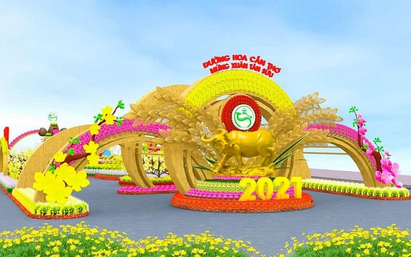 TP Cần Thơ thực hiện đường hoa nghệ thuật với hơn 40.000 giỏ hoa, cây cảnh -0