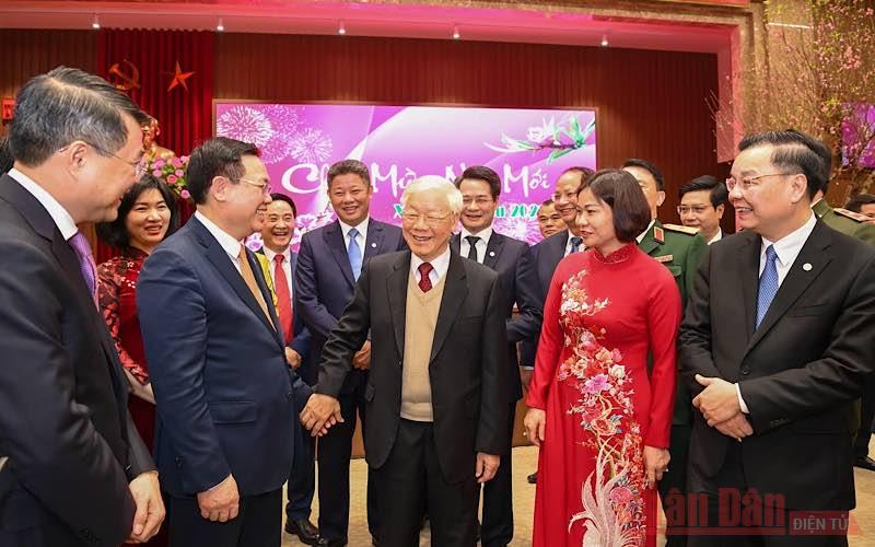 Tổng Bí thư, Chủ tịch nước Nguyễn Phú Trọng chúc Tết Đảng bộ, chính quyền và nhân dân thành phố Hà Nội -0