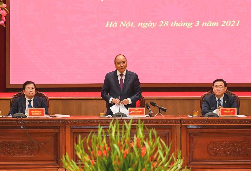 Thủ tướng Nguyễn Xuân Phúc làm việc với lãnh đạo chủ chốt TP Hà Nội -0