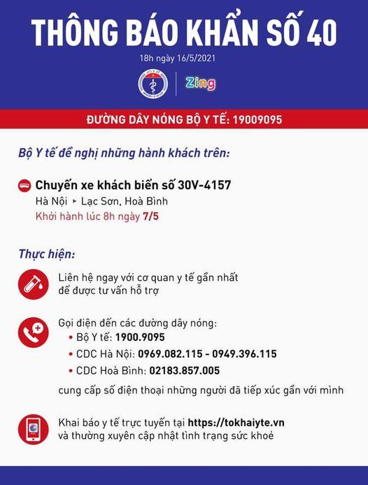 Bộ Y tế tìm người trên chuyến xe từ Hà Nội tới Lạc Sơn, Hòa Bình -0