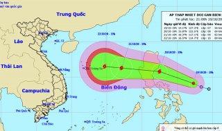 Xuất hiện áp thấp giật cấp 9 gần Biển Đông